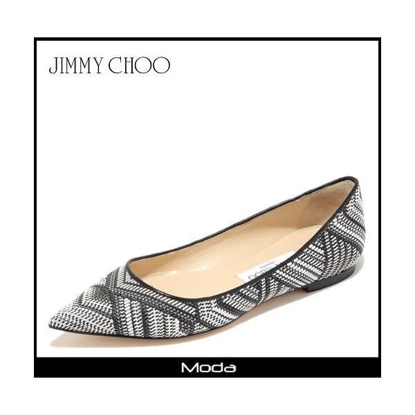 Jimmy Choo  ジミーチュウ ブラック&ホワイト フェイク/レザー フラットシューズ