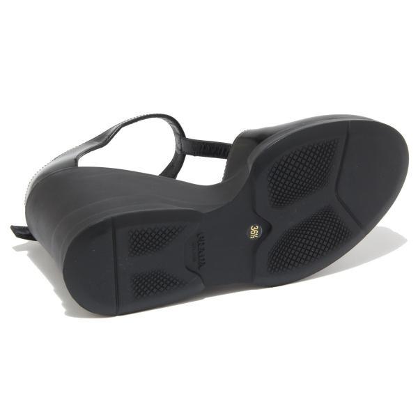 PRADAプラダ ブラック- Tストラップウエッジソールパンプス