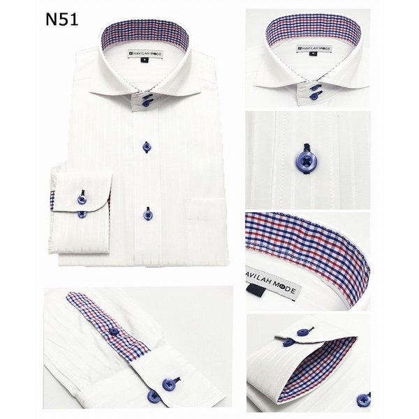 ワイシャツ長袖 メンズ 形態安定   5枚セットN51-N55 ゆったり系 3L 4L 5L 6Lドゥエボットーニ ボタンダウン メンズ  ワイドカラー Yシャツ 5枚組|modelista|03