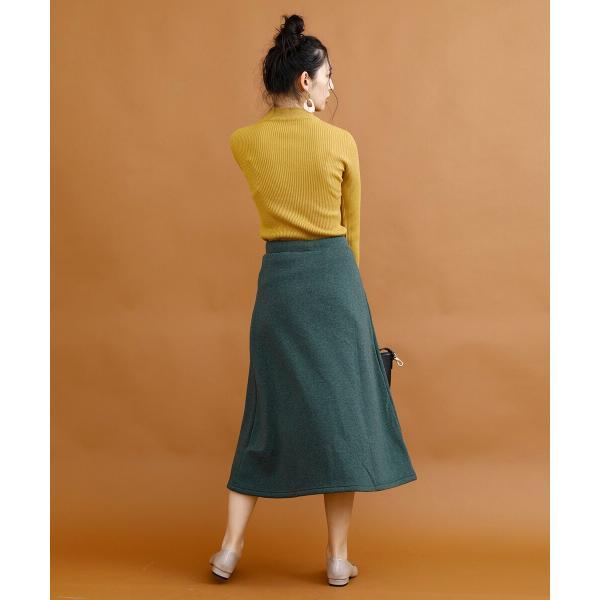 裏起毛 スカート あったか ロングスカート 裏起毛ウォームストレッチロングスカート|moha|07