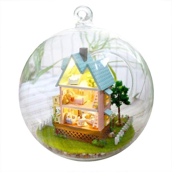 ミニチュア ドールハウス キットセット 音感センサー 搭載 ガラスボールシリーズ No.11 ( ピンクの壁の家 )|moin-moin|02