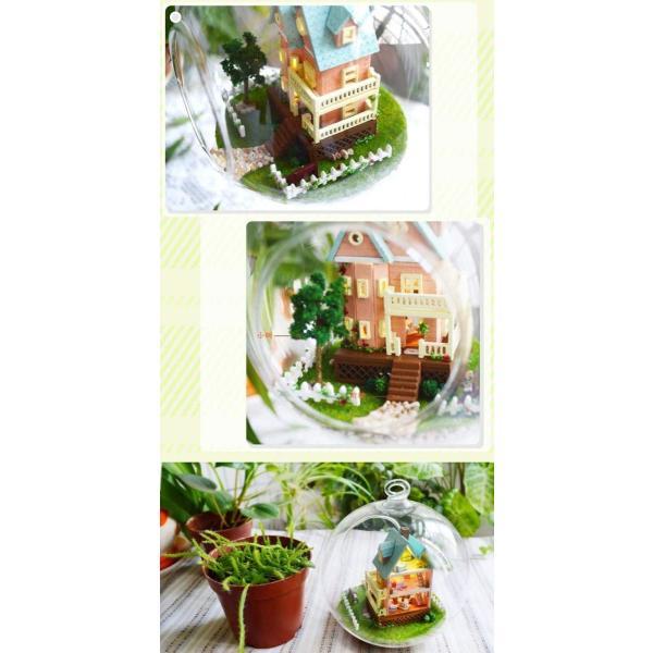 ミニチュア ドールハウス キットセット 音感センサー 搭載 ガラスボールシリーズ No.11 ( ピンクの壁の家 )|moin-moin|07