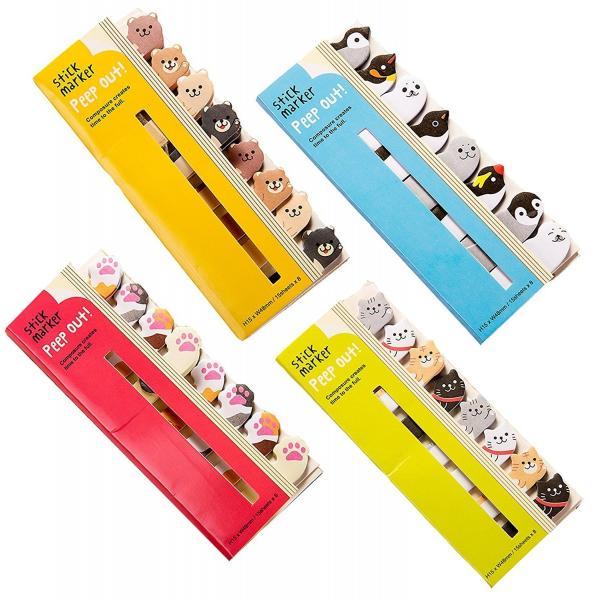 付箋 ふせん メモ ハーイ! 動物 大集合 4種セット (猫の手  熊 海の生き物 猫)|moin-moin