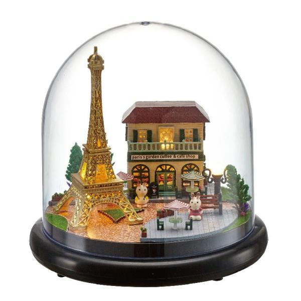 ドールハウス ミニチュア ドーム型 世界を旅するうさぎシリーズ  ( パリのエッフェル塔 )|moin-moin|05
