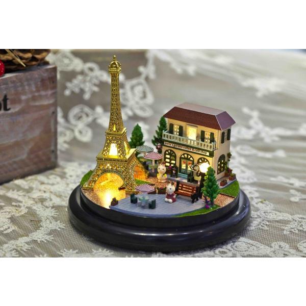 ドールハウス ミニチュア ドーム型 世界を旅するうさぎシリーズ  ( パリのエッフェル塔 )|moin-moin|06