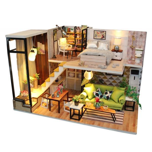 ドールハウス ミニチュア 手作りキット 現代モダン 北欧 モデルルーム インテリア  LEDライト+アクリルケース +オルゴール付 (グラーツィア)|moin-moin