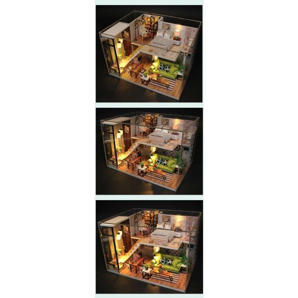 ドールハウス ミニチュア 手作りキット 現代モダン 北欧 モデルルーム インテリア  LEDライト+アクリルケース +オルゴール付 (グラーツィア)|moin-moin|12