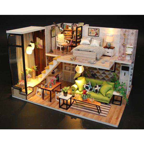 ドールハウス ミニチュア 手作りキット 現代モダン 北欧 モデルルーム インテリア  LEDライト+アクリルケース +オルゴール付 (グラーツィア)|moin-moin|14