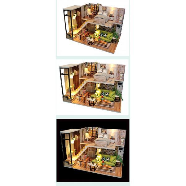 ドールハウス ミニチュア 手作りキット 現代モダン 北欧 モデルルーム インテリア  LEDライト+アクリルケース +オルゴール付 (グラーツィア)|moin-moin|15