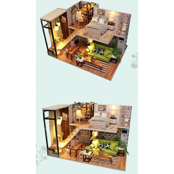 ドールハウス ミニチュア 手作りキット 現代モダン 北欧 モデルルーム インテリア  LEDライト+アクリルケース +オルゴール付 (グラーツィア)|moin-moin|16