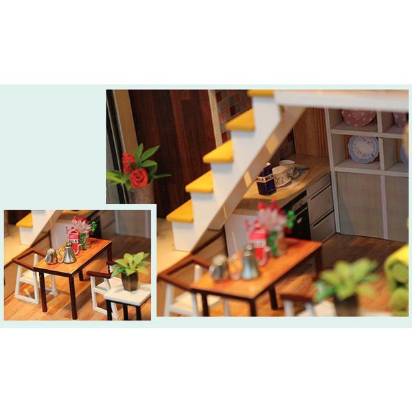 ドールハウス ミニチュア 手作りキット 現代モダン 北欧 モデルルーム インテリア  LEDライト+アクリルケース +オルゴール付 (グラーツィア)|moin-moin|06