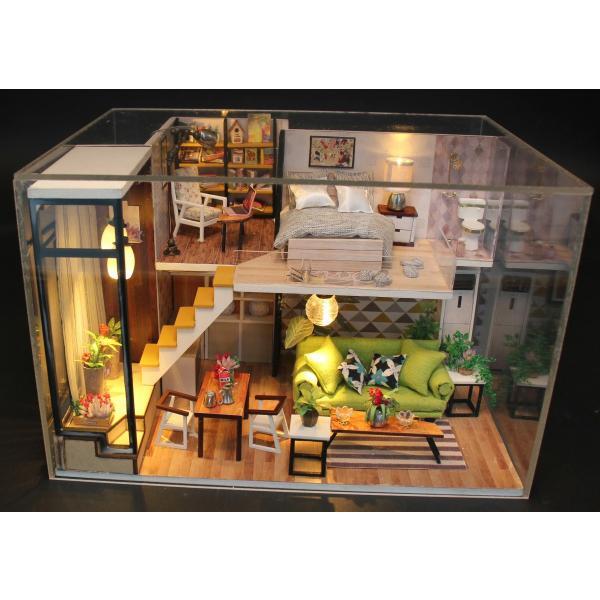 ドールハウス ミニチュア 手作りキット 現代モダン 北欧 モデルルーム インテリア  LEDライト+アクリルケース +オルゴール付 (グラーツィア)|moin-moin|07