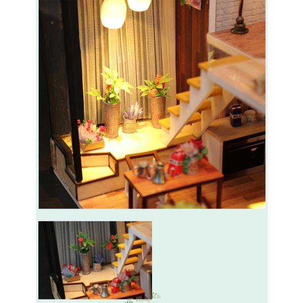 ドールハウス ミニチュア 手作りキット 現代モダン 北欧 モデルルーム インテリア  LEDライト+アクリルケース +オルゴール付 (グラーツィア)|moin-moin|08