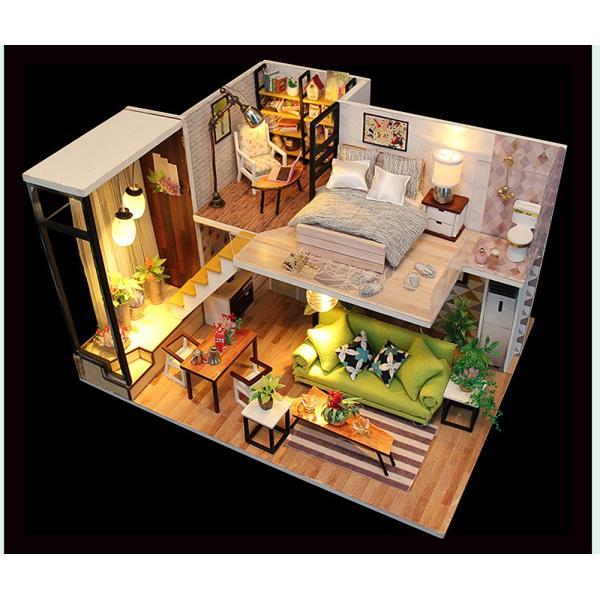 ドールハウス ミニチュア 手作りキット 現代モダン 北欧 モデルルーム インテリア  LEDライト+アクリルケース +オルゴール付 (グラーツィア)|moin-moin|09