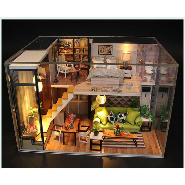 ドールハウス ミニチュア 手作りキット 現代モダン 北欧 モデルルーム インテリア  LEDライト+アクリルケース +オルゴール付 (グラーツィア)|moin-moin|10