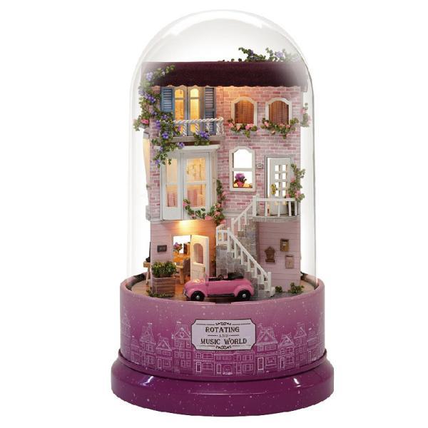 ドールハウス ミニチュア 手作りキット セット ドールハウス タワー ドーム シリーズ 回転式 オルゴール ( ピンクのアンティークハウス ) moin-moin