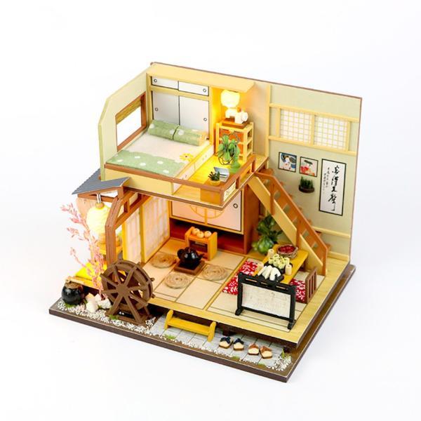 ドールハウス ミニチュア 手作りキット セット 風情のある 和風 シリーズ 和 日本 初心者向け LEDライト + 工具セット 付 ( 軽井沢の別荘 ) moin-moin