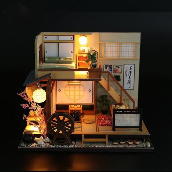 ドールハウス ミニチュア 手作りキット セット 風情のある 和風 シリーズ 和 日本 初心者向け LEDライト + 工具セット 付 ( 軽井沢の別荘 ) moin-moin 07
