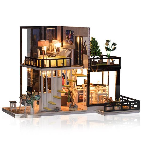ドールハウス ミニチュア 手作りキット セット 芝生の 広いベランダ 二階建て 現代モダン LEDライト + オルゴール + アクリルケース|moin-moin