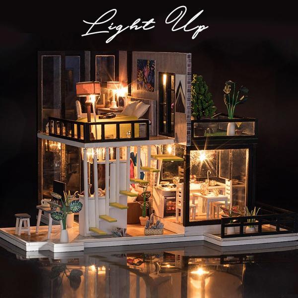 ドールハウス ミニチュア 手作りキット セット 芝生の 広いベランダ 二階建て 現代モダン LEDライト + オルゴール + アクリルケース|moin-moin|07