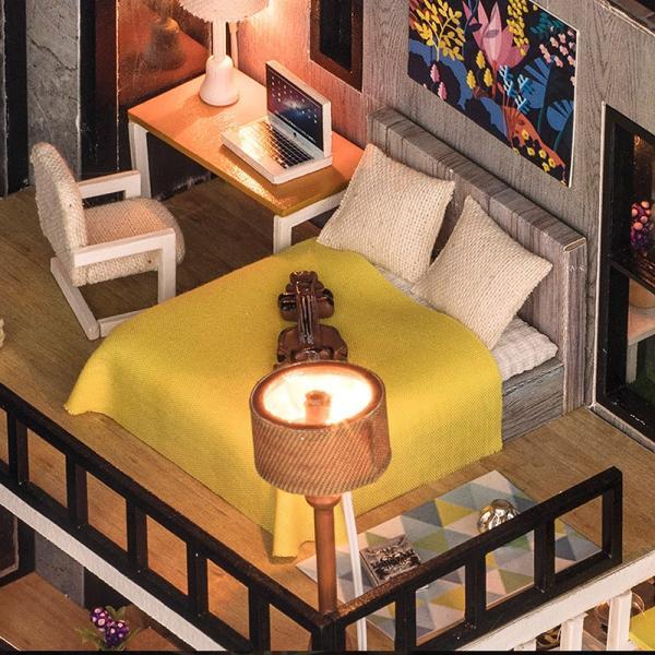 ドールハウス ミニチュア 手作りキット セット 芝生の 広いベランダ 二階建て 現代モダン LEDライト + オルゴール + アクリルケース|moin-moin|08