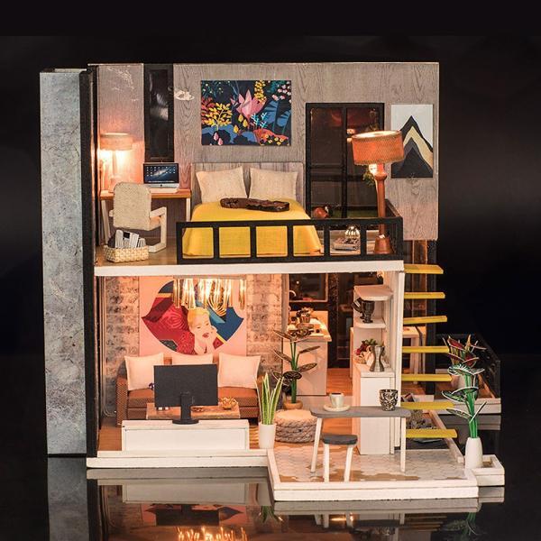 ドールハウス ミニチュア 手作りキット セット 芝生の 広いベランダ 二階建て 現代モダン LEDライト + オルゴール + アクリルケース|moin-moin|09