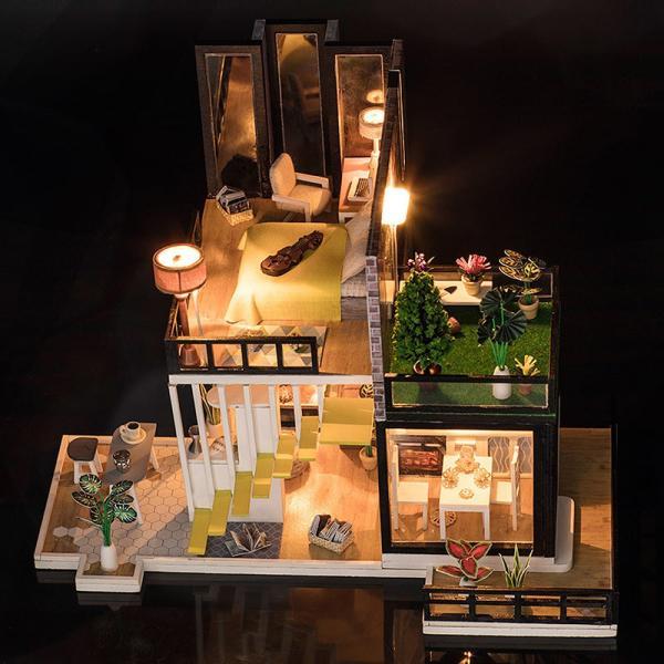 ドールハウス ミニチュア 手作りキット セット 芝生の 広いベランダ 二階建て 現代モダン LEDライト + オルゴール + アクリルケース|moin-moin|10