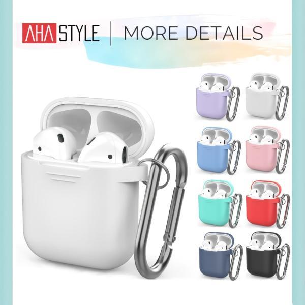 AirPods ケース おしゃれ 本体 カバー シリコン エアーポッズ  高品質シリコン ストラップ カラビナ で携帯に便利 AhaStyle|mokku-shop