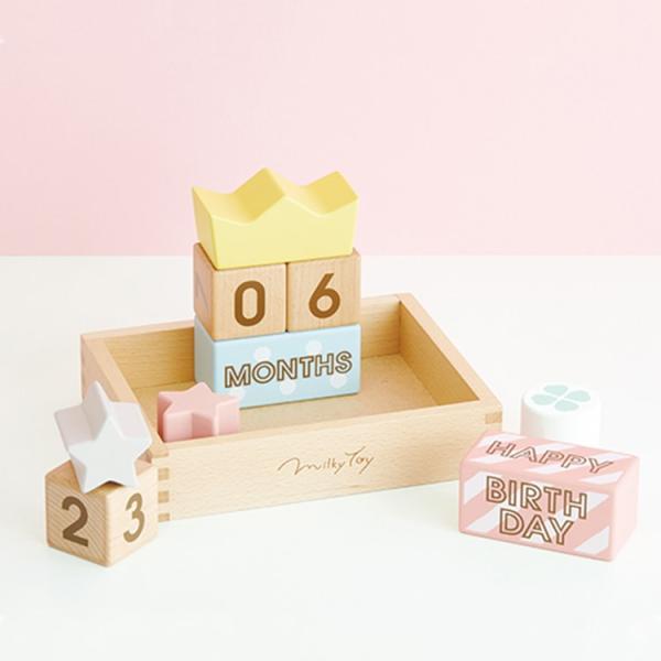 ブロック 木製 アニバーサリーフォト おもちゃ 写真 北欧 ベビー かわいい おしゃれ プレゼント 出産祝い 誕生日 エド・インター メモリービスケット Milky toy