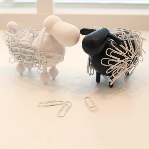 クリップホルダー プードル シープ 犬 羊 ヒツジ アニマル 動物 文房具 デスク 文具 おもしろ雑貨 整理 ホワイト ブラック オフィス 机 北欧 Sheep&poodle