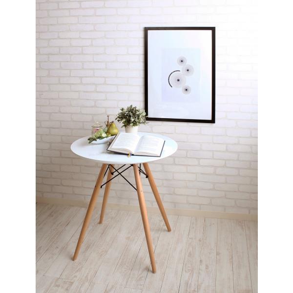 ウッドレッグラウンドテーブル ホワイト|momoda|03