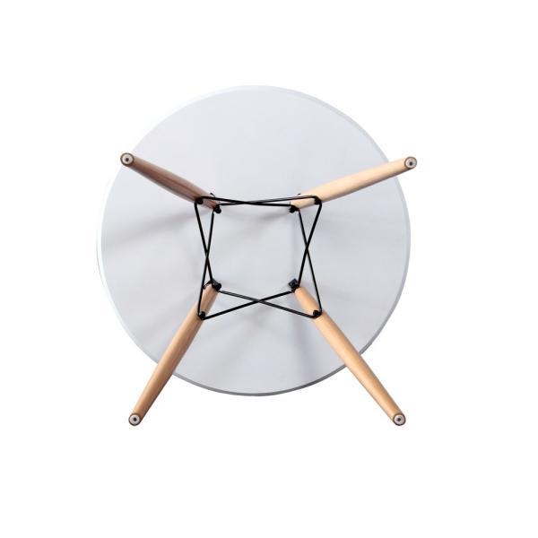 ウッドレッグラウンドテーブル ホワイト|momoda|06