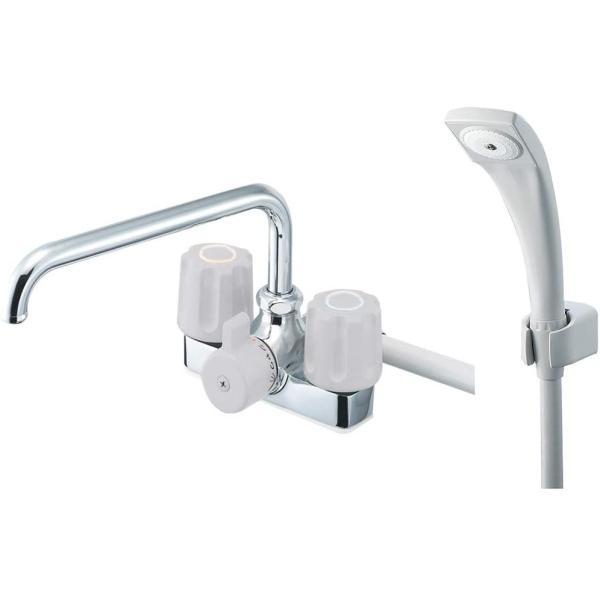 SANEI浴室用ツーバルブデッキシャワー混合栓取付け芯ピッチ120mmSK710-LH-13