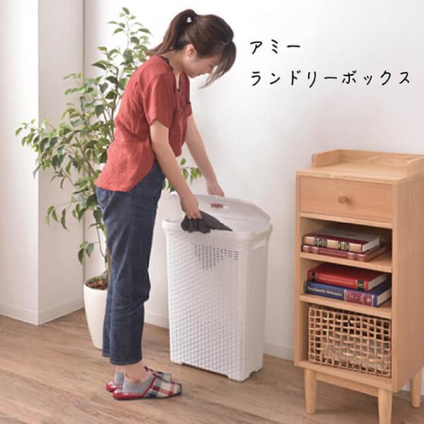 アミーランドリーボックス 洗濯カゴ 洗濯物入れ 収納 蓋付き 取っ手付き 大容量 スリム 横置き 縦置き ラタン調 スタイリッシュ グレー ホワイト