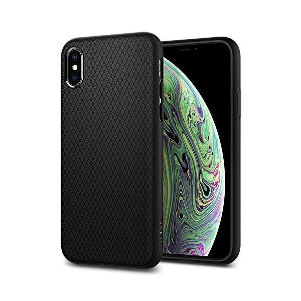 【Spigen】 スマホケース iPhone XS ケース/iPhone X ケース 5.8インチ TPU 米軍MIL規格取得 耐衝撃 リキッド・エアー 057CS22123 (マット・ブラック)|momos-shop