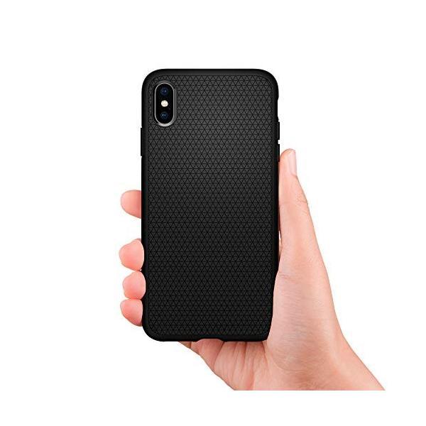 【Spigen】 スマホケース iPhone XS ケース/iPhone X ケース 5.8インチ TPU 米軍MIL規格取得 耐衝撃 リキッド・エアー 057CS22123 (マット・ブラック)|momos-shop|02