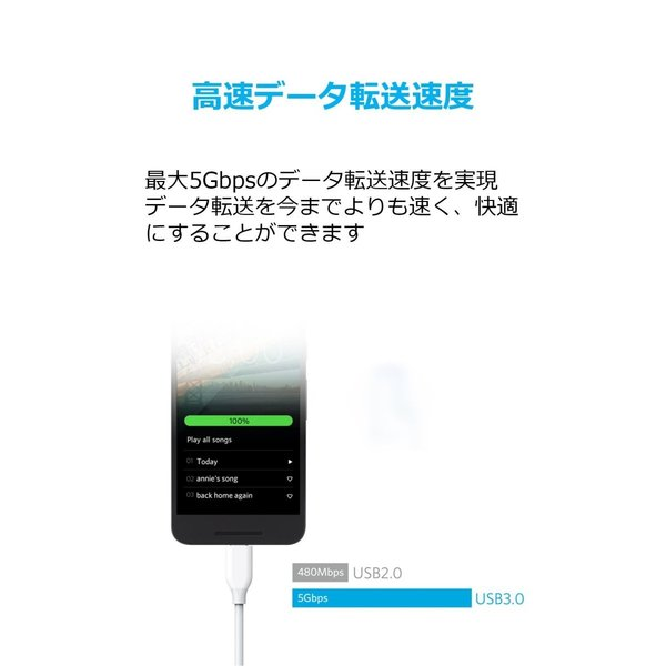 Anker PowerLine USB-C & USB-A 3.0ケーブル (0.9m ホワイト) Galaxy S9 / S9+ / iPad Pro (2018, 11インチ) / MacBook/MacBook Air (2018) / Xperia XZ1|momos-shop|04