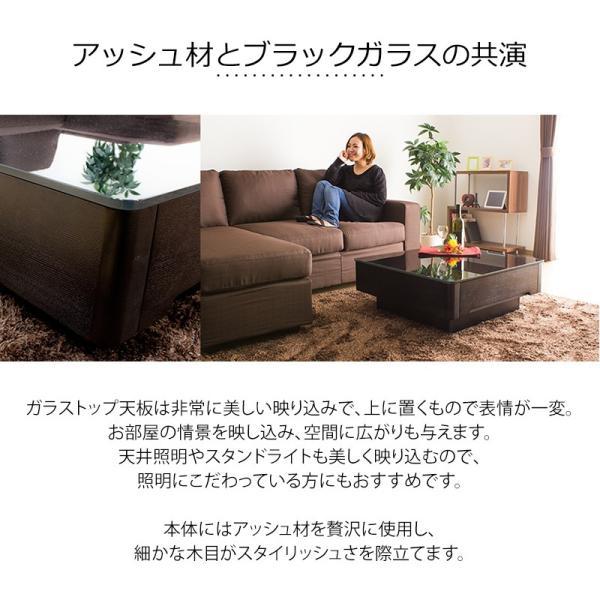 収納付き ローテーブル / Arly 正方形 80×80cm ガラス天板 アッシュ材|momu|05