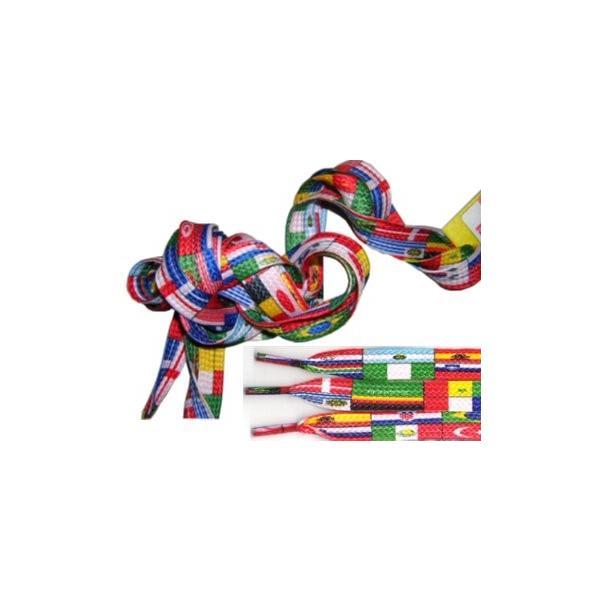 フラット シューレース ナショナルフラッグ 長さ130cm 万国旗デザイン 男女兼用 2本セット