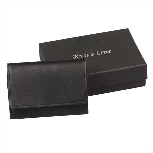 【全商品ポイント10倍】 服部 RYU'S ONE リューズワン WD シリーズ BOX 三つ折り コンパクト 財布 小銭入れ ショートウォレット 本革 ブラック 15-4038-BK|monosapiens
