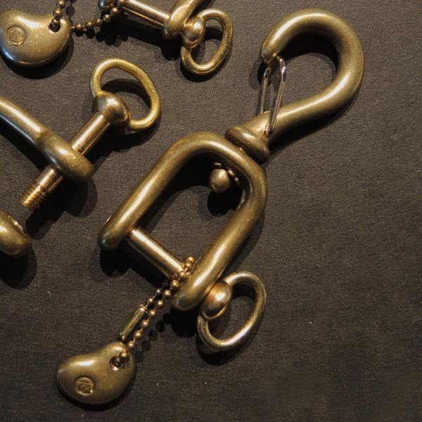 KAMISHIRAISHI acc 上白石 シャックル付 スナップフック セット キーホルダー 真鍮 アクセサリー KSC-01|monosapiens|02