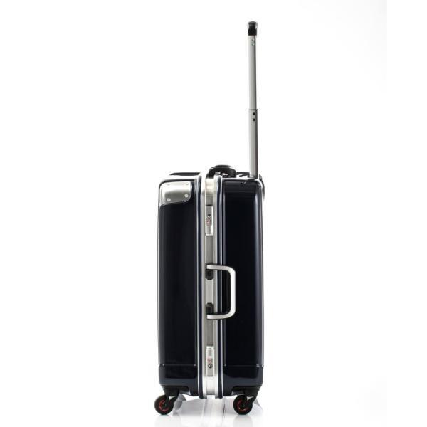 HIDEO WAKAMATSU ヒデオワカマツ ステルシー M-L スーツケース ハードキャリー TSA サイレント車輪 60L ネイビーヘアライン 85-76430-NV|monosapiens|02