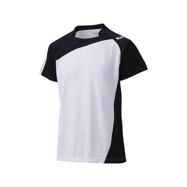[アシックス] バレーボールウエア 半袖ゲームシャツ [メンズ] XW1321 ホワイト/ブラック 日本 SS (日本サイズXS相当)