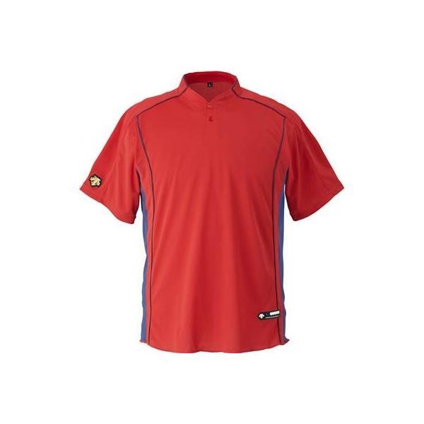 DESCENTE(デサント) 野球 立衿2ボタンベースボールシャツ DB109B レッド(RED) XO