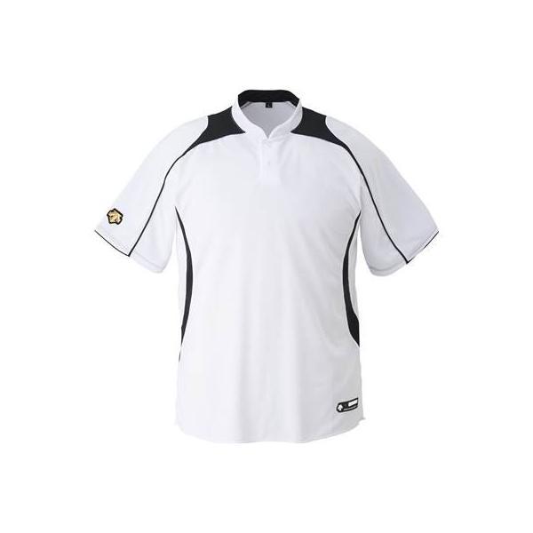 DESCENTE(デサント) 野球 立衿2ボタンベースボールシャツ DB110B ホワイト×ブラック(SWBK) XO