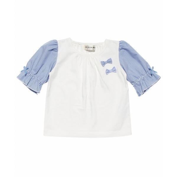 子供服 女の子 Tシャツ 半袖 ベビー服 普段着 通学着 綿100% ストライプ柄袖口フリルリボン付き6分袖 オフホワイト 80cm 90cm むーのんのん MOONONNON moononnon 02