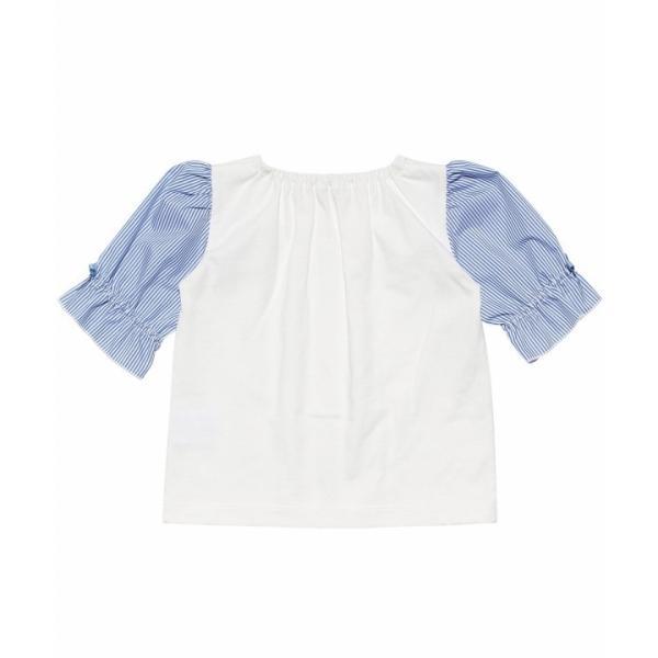 子供服 女の子 Tシャツ 半袖 ベビー服 普段着 通学着 綿100% ストライプ柄袖口フリルリボン付き6分袖 オフホワイト 80cm 90cm むーのんのん MOONONNON moononnon 03