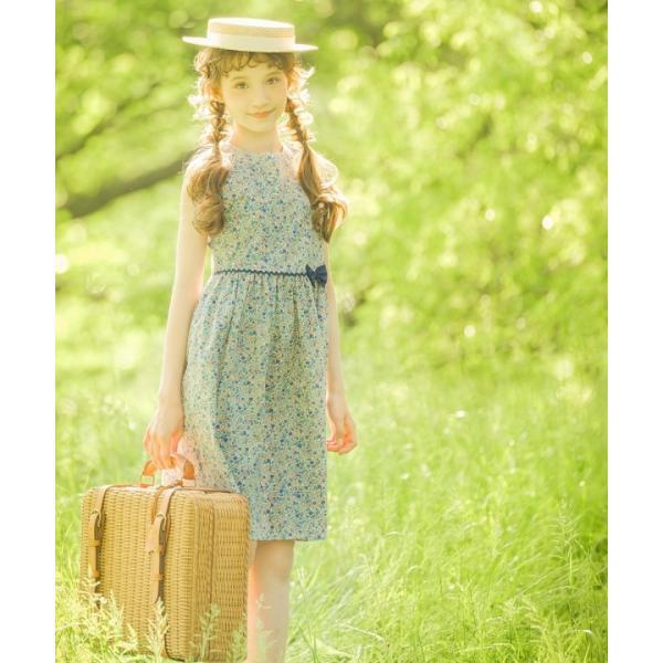 b8989fae5ece2 ... 子供服 女の子 ワンピース・ジャンパースカート ノースリーブ 綿100% 小花柄 ギャザー入り 日本