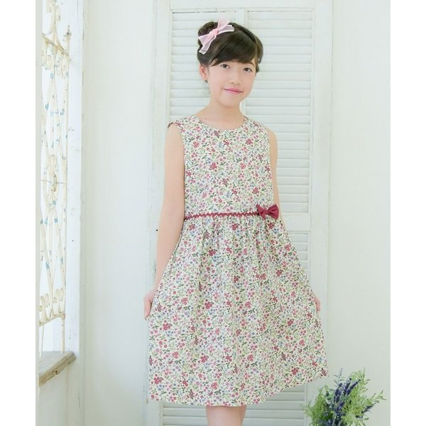 f5debc33c6641 ... 子供服 女の子 ワンピース・ジャンパースカート ノースリーブ 日本製 綿100% 小花柄 ギャザー