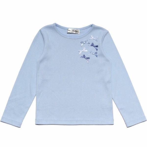 子供服 女の子 Tシャツ 長袖 普段着 通学着 リボンつき微起毛素材 ショッキングピンク ブルー 120cm 130cm 140cm 150cm 160cm アイアムマリリン IamMarilyn|moononnon|02